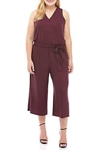 Plus Size Sparkle Wrap Jumpsuit