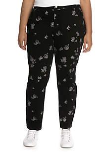 Plus Size Rose Print Skinny Jean
