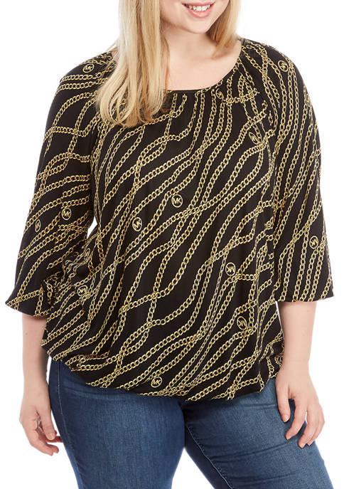 Plus Size Chain Peasant Knit Top