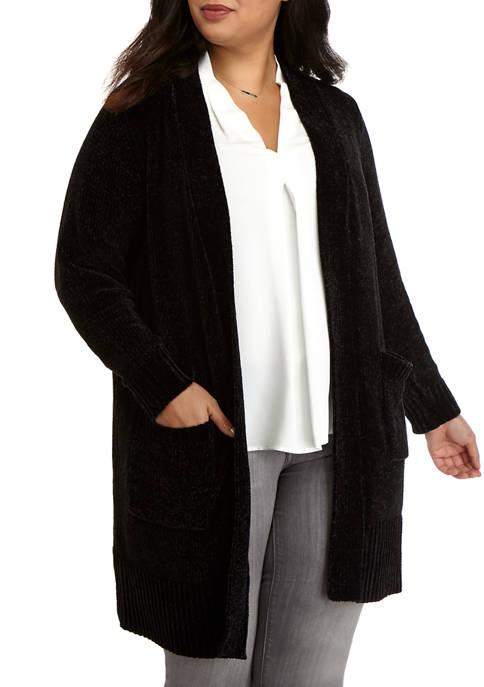MICHAEL Michael Kors Plus Size Chenille Open Cardigan