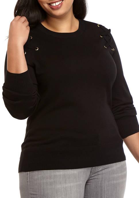 MICHAEL Michael Kors Plus Size Grommet Shoulder Sweater