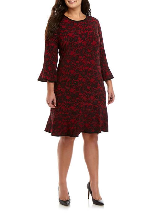 Plus Size Lace Print Flounce Dress