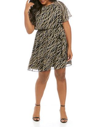 Plus Size Bias Link Print Tie Dress