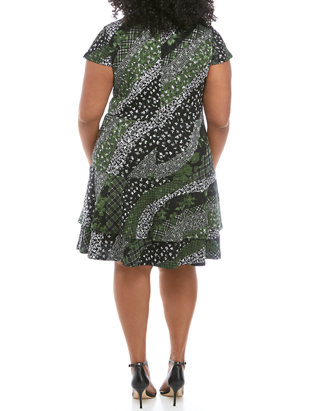 Plus Size Collage Print Tier Dress