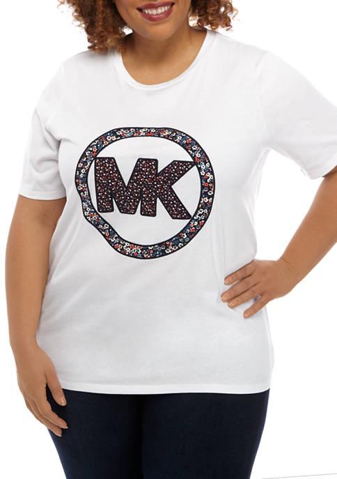 Plus Size Floral MK Logo T-Shirt