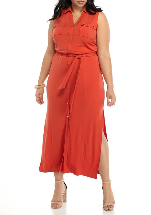 Plus Size Sleeveless Maxi Shirt Dress