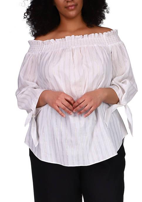 MICHAEL Michael Kors Plus Size LUREX® Stripe Off