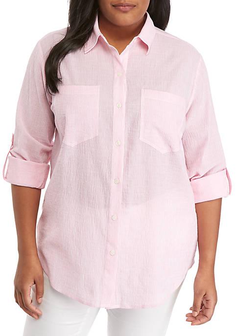 MICHAEL Michael Kors Plus Size Stripe Button Up