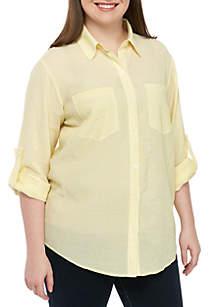 MICHAEL Michael Kors Plus Size Stripe Button Up Shirt