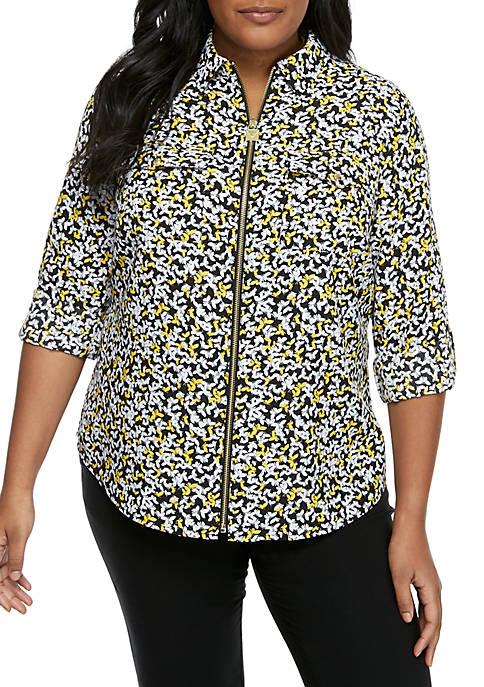 Plus Size Mini Monarch Roll Sleeve Zip Shirt