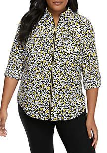 MICHAEL Michael Kors Plus Size Mini Monarch Roll Sleeve Zip Shirt
