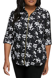 MICHAEL Michael Kors Plus Size Floral Roll Sleeve Zip Shirt