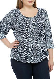 MICHAEL Michael Kors Plus Size Texture Vapor Peasant Knit Top