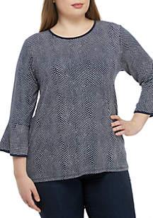 MICHAEL Michael Kors Plus Size Mamba Print Flare Sleeve Knit Top