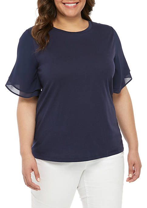 Plus Size Woven Flutter Sleeve Top