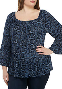 MICHAEL Michael Kors Plus Size Snake Print Bell Sleeve Knit Top