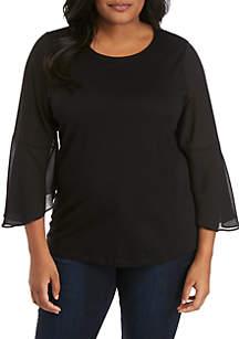 MICHAEL Michael Kors Plus Size Sheer Bell Sleeve Knit Top