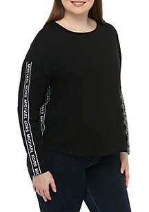 MICHAEL Michael Kors Plus Size Logo Tape Long Sleeve Tee