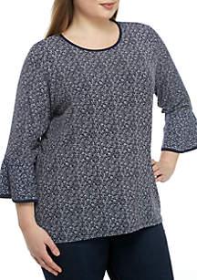 MICHAEL Michael Kors Plus Size Flutter Sleeve Mix Print Knit Top