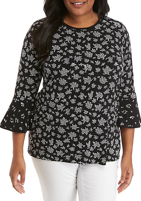 Plus Size Wildflower Flare Sleeve Top