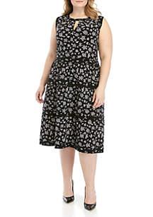 MICHAEL Michael Kors Plus Size Wildflower Tiered Dress
