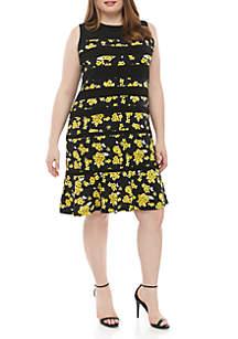 MICHAEL Michael Kors Plus Size Fleur Panel Fit and Flare Dress
