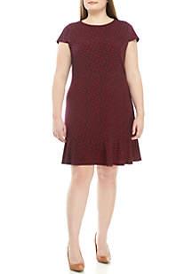 MICHAEL Michael Kors Plus Size Short Sleeve Paisley Flounce Hem Dress