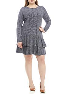 MICHAEL Michael Kors Plus Size Micro Floral Ruffle Hem Dress