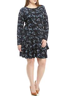 MICHAEL Michael Kors Plus Size Long Sleeve Flounce Hem Camo Dress