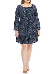 MICHAEL Michael Kors Plus Size Python Print Bell Sleeve Dress