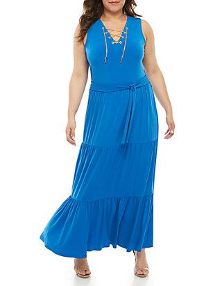 ae595702 MICHAEL Michael Kors Plus Size Chain Lace-Up Maxi Dress | belk