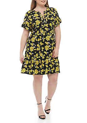 aeaeb71e1b5e75 MICHAEL Michael Kors Plus Size Glam Painterly Lace Up Dress ...