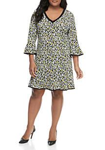 MICHAEL Michael Kors Plus Size V Neck Flounce Hem Dress