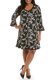 MICHAEL Michael Kors Plus Size Mod Garden V Neck Flounce Dress