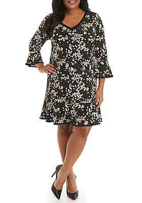 d252675795 MICHAEL Michael Kors Plus Size Mod Garden V Neck Flounce Dress ...