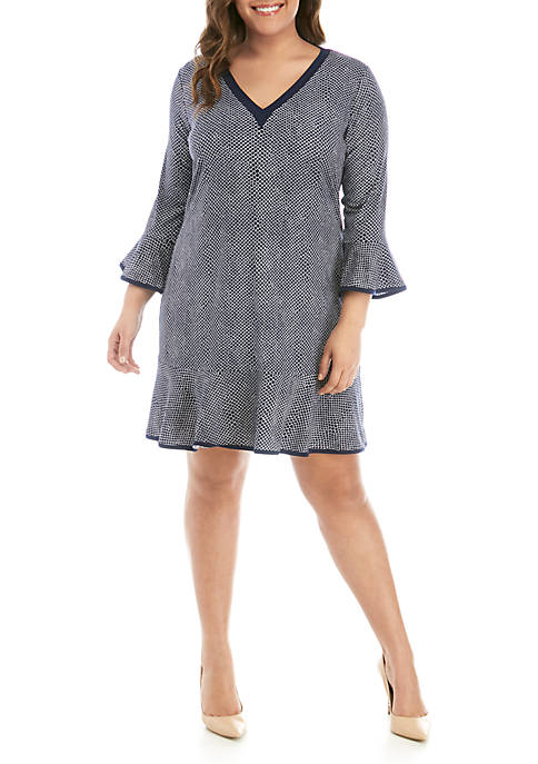 Plus Size Long Sleeve V-Neck Flounce Dress