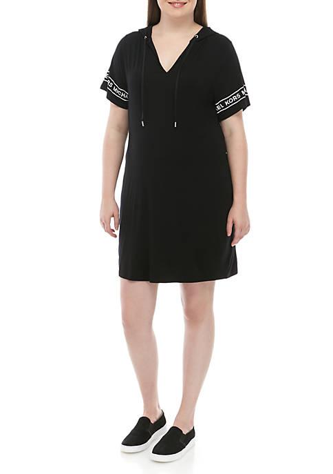Plus Size Logo Tape Hood Dress