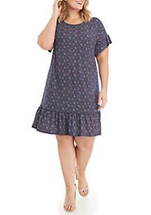 MICHAEL Michael Kors Plus Size Clover Print Ruffle Tee Dress