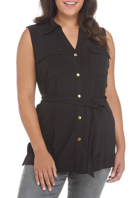 MICHAEL Michael Kors Plus Size Sleeveless Button Front