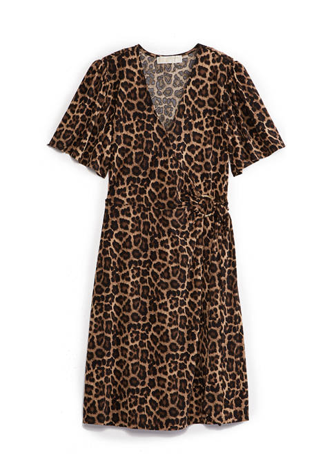 Plus Size Leo Short Sleeve Faux Wrap Dress