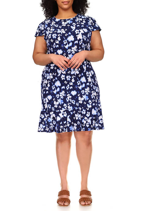 Plus Size Poppy Flounce Seamed Dress