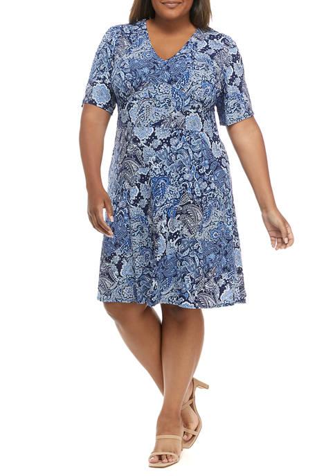 MICHAEL Michael Kors Plus Size Paisley V-Neck Dress