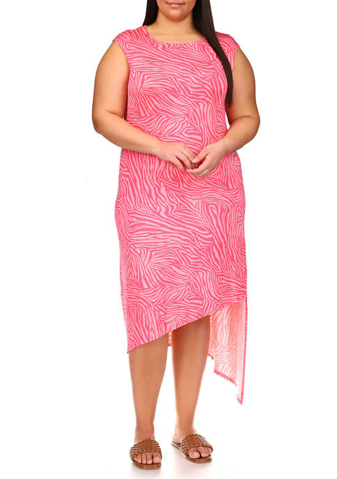 MICHAEL Michael Kors Plus Size Zebra Cap Sleeve