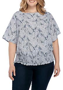 Plus Size Paisley Fleur Kimono Top