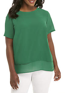 Plus Size Back Cutout Short Sleeve Top