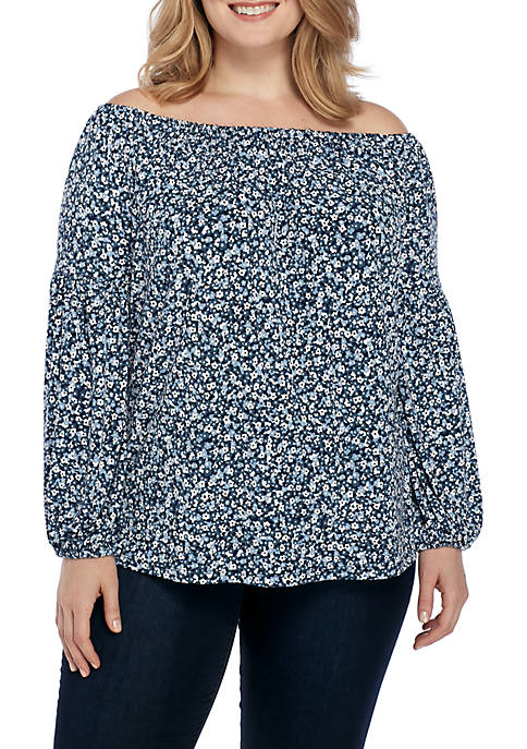 MICHAEL Michael Kors Plus Size Collage Off-The-Shoulder Top