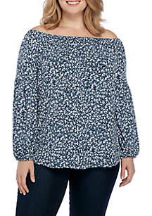 Plus Size Collage Off-The-Shoulder Top