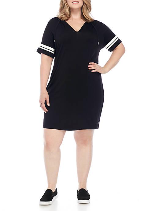 Michael Michael Kors Plus Size Striped Sleeve Hoodie Dress Belk