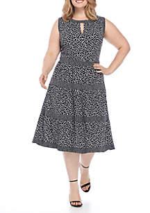 Plus Size Leopard Border Tier Dress