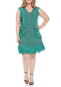 Plus Size Mini Leopard Cascade Dress